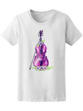 Watercolor Violin With Flowers Women'S Tee -Image By Basic Models Tee Shirt(China)
