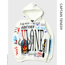 Autumn and Winter Mens Letters Hoodies Long Sleeves Printing Cotton Coat Loose Plangi Painted Pullover Couple Thickened