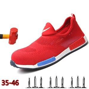 Image 1 - 2019 respirável aço nariz sapatos de segurança homem leve verão anti esmagamento piercing trabalho única malha tênis masculino e feminino