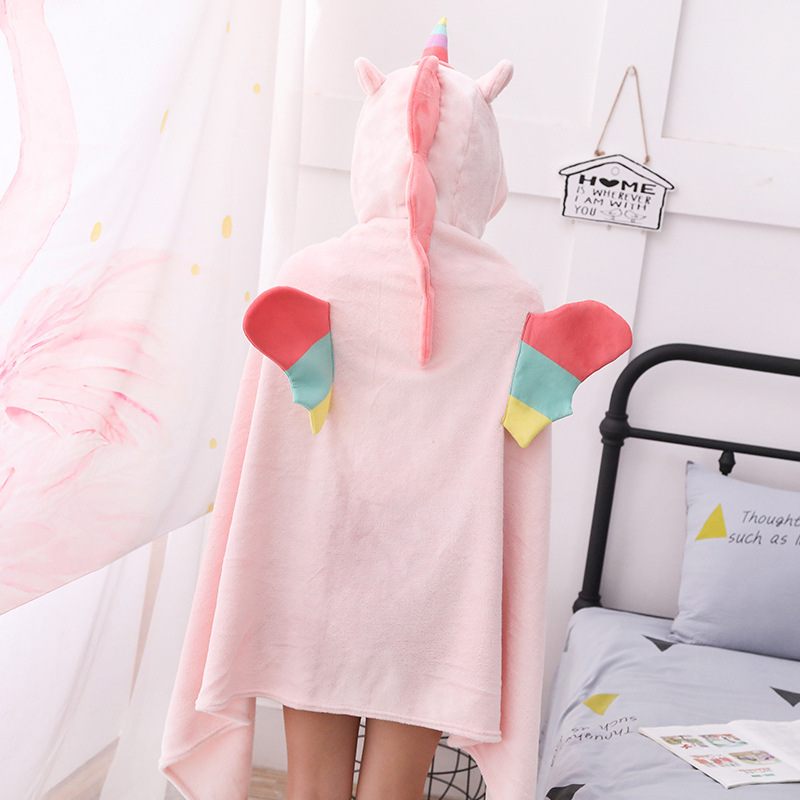 Unicorn Fleece Blanket Hooded Blanket Bed Sofa TV Throw Blankets Cartoon Hoodie Blanket Sweatshirt Christmas Gift for Children 17