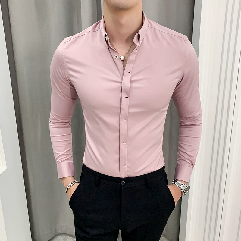 British Style Solid Shirt Men High Quality Men Silk Shirts Long Sleeve Business Formal Wear Slim Fit Tuxedo Shirt Dress Pink 4XL|Casual Shirts| |  - title=