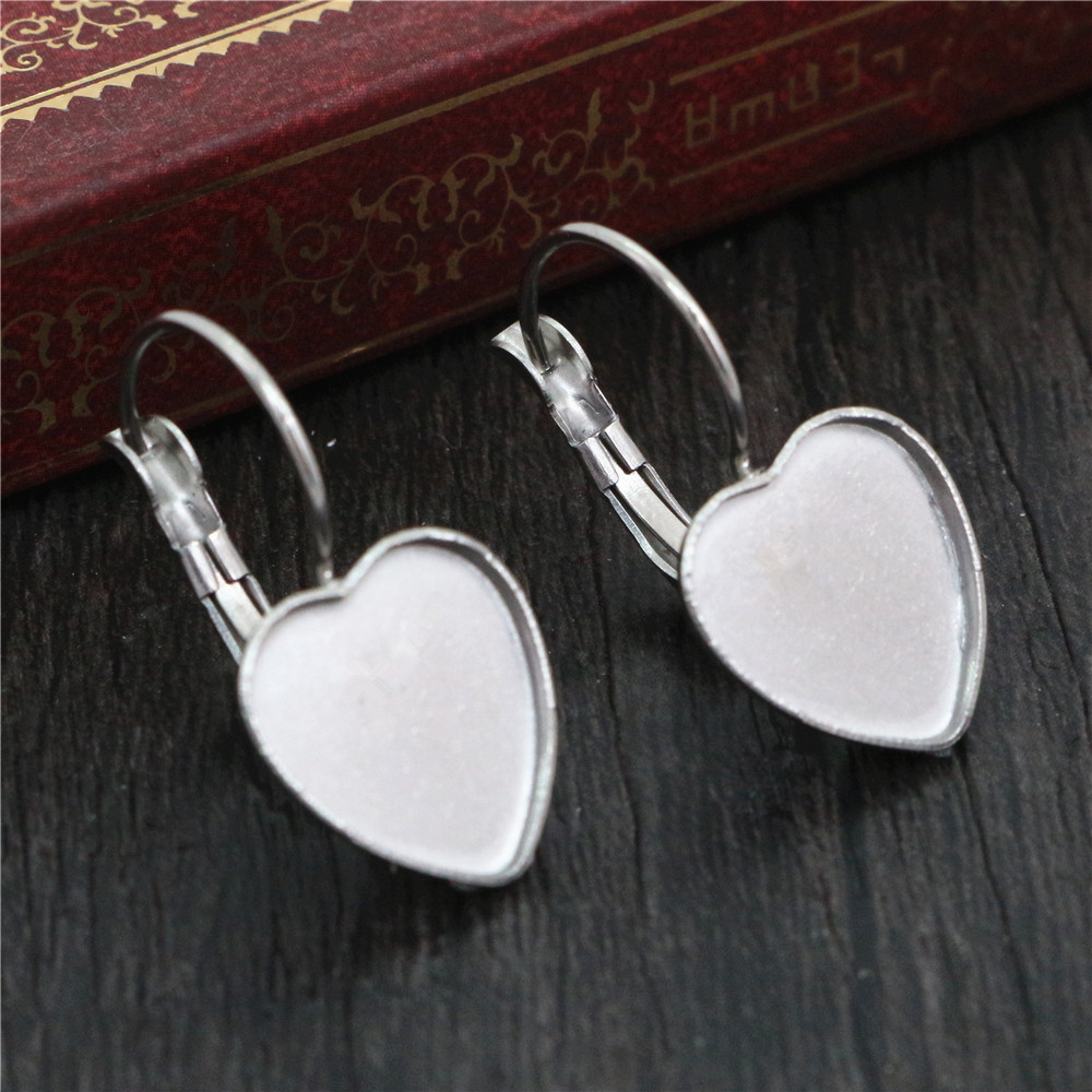 ( No Fade ) 12mm 10pcs Stainless Steel Heart French Lever Back Earrings Blank/Base,Fit 12mm Heart Glass Cabochons,Buttons(T7-30)