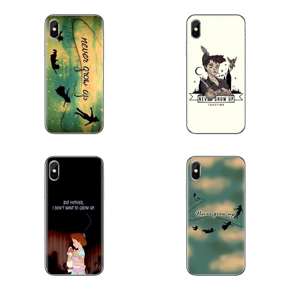 Para o iPod Touch Da Apple iPhone 4 4S 5 5S SE 5C 6 6S 7 8 X XR XS Mais MAX Peter Pan Never Grow Up Arte Suave Transparente Casos Covers