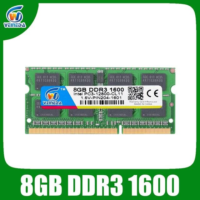 VEINEDA DDR3 8 Гб оперативная память sodimm DDR 3 4 Гб 1600 1333 МГц 204pin 1,5 В для Intel AMD ноутбука оперативная память