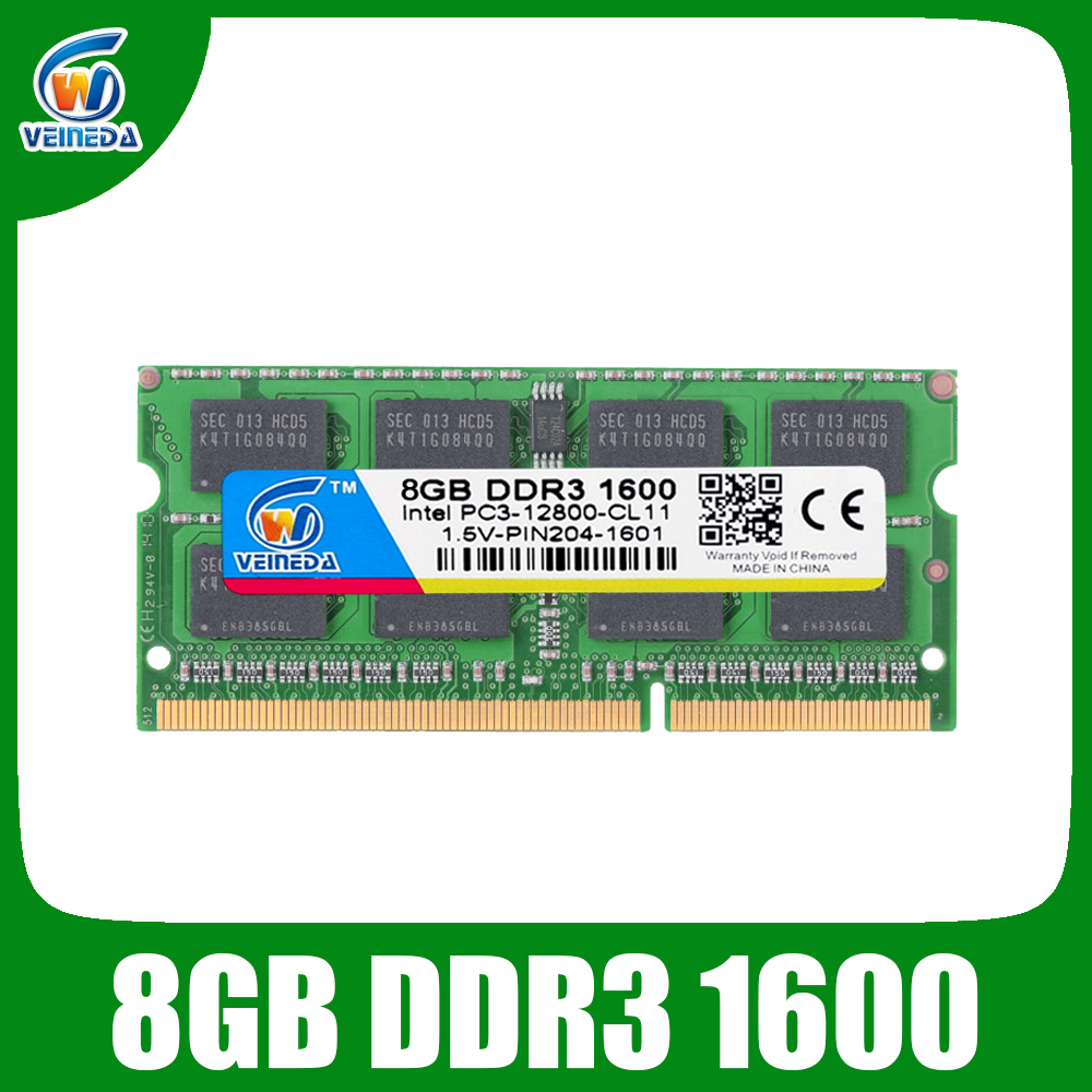 VEINEDA <font><b>DDR3</b></font> <font><b>8gb</b></font> <font><b>Ram</b></font> Sodimm ddr 3 4gb 1600 1333MHZ 204pin 1.5V For Intel AMD laptop <font><b>Ram</b></font> Memory image