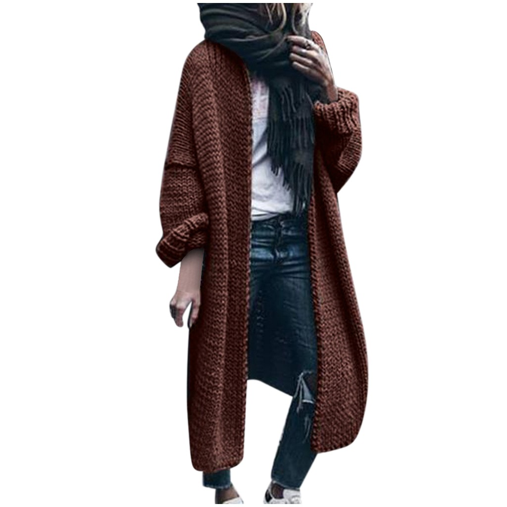 Long Popcorn Colorful Cardigan Sweater Oversized Women Winter Warm Thick Plus Size Wool Solid Sweaters Loose Mujer Streetwear