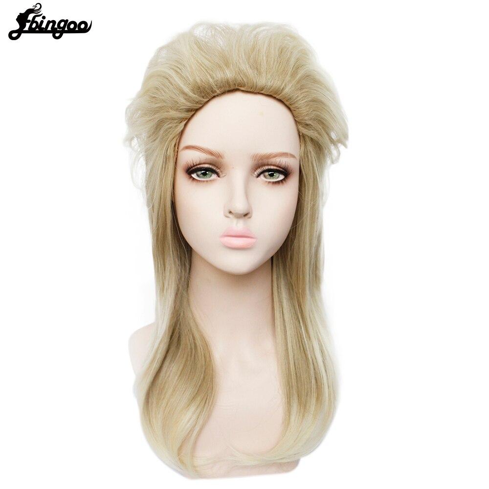 Ebingoo 70s 80s Halloween Costume Retro Rocking Punk Metal Disco Mullet Synthetic Cosplay Wig Women Long Straight Blonde Wig