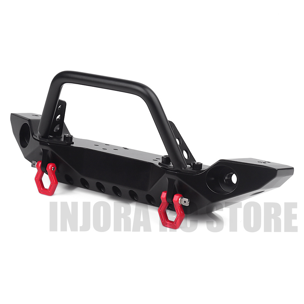 Black Metal Front Bumper With Tow Hook For 1:10 RC Crawler Car Axial SCX10 90046 Traxxas TRX-4