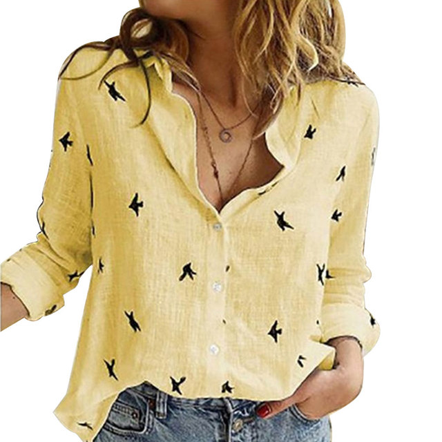 Vintage Streetwear Tee - Casual Long Sleeve Birds Print Loose Shirts Women Oversized Cotton and Linen 3