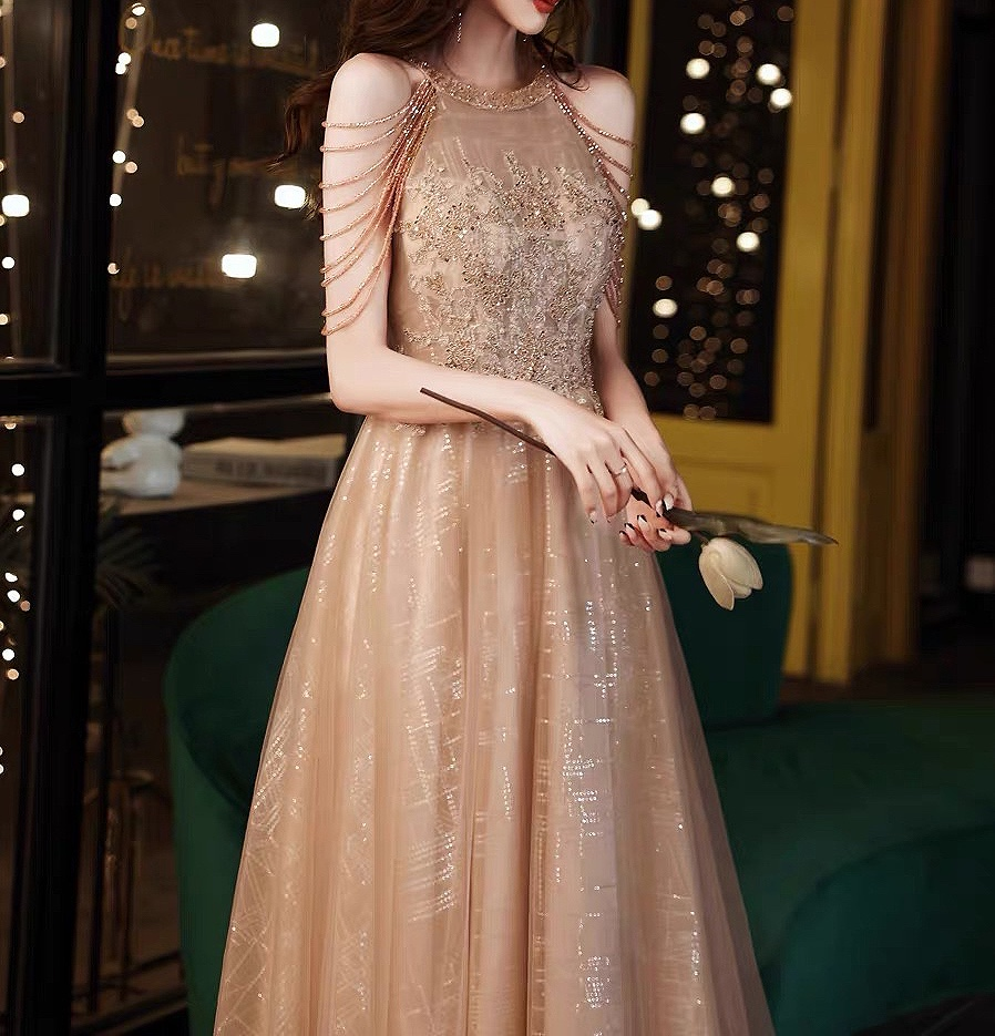 2021 Champagne Gold  Prom Dresses Halter A-line Floor-length Tulle Woman Party Night Sparkly Sequin Evening Gown With Beaded New