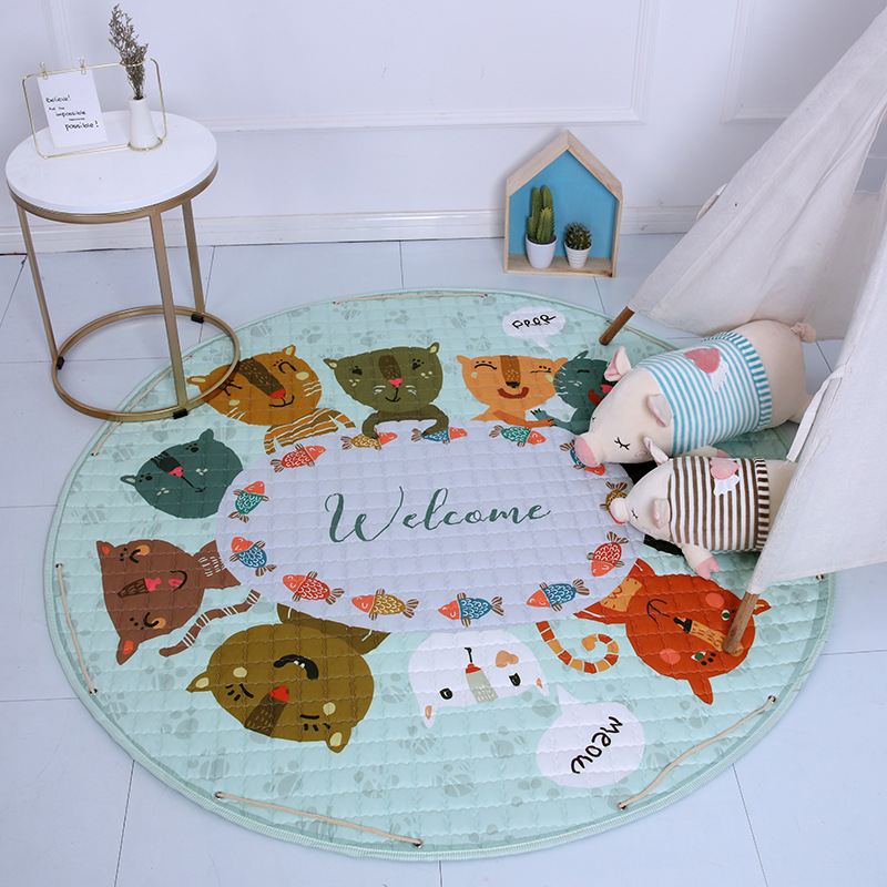 H7e3bd4054ddf4e469d7f45ec9be74da77 Kid Soft Carpet Rugs Cartoon Animals Fox Baby Play Mats Child Crawling Blanket Carpet Toys Storage Bag Kids Room Decoration
