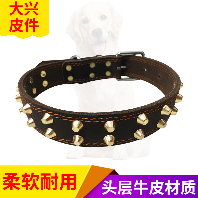 Pet First Layer Cow Leather Collar In Large Pet For Collar Dog Anti-Bite Rivet Bandana