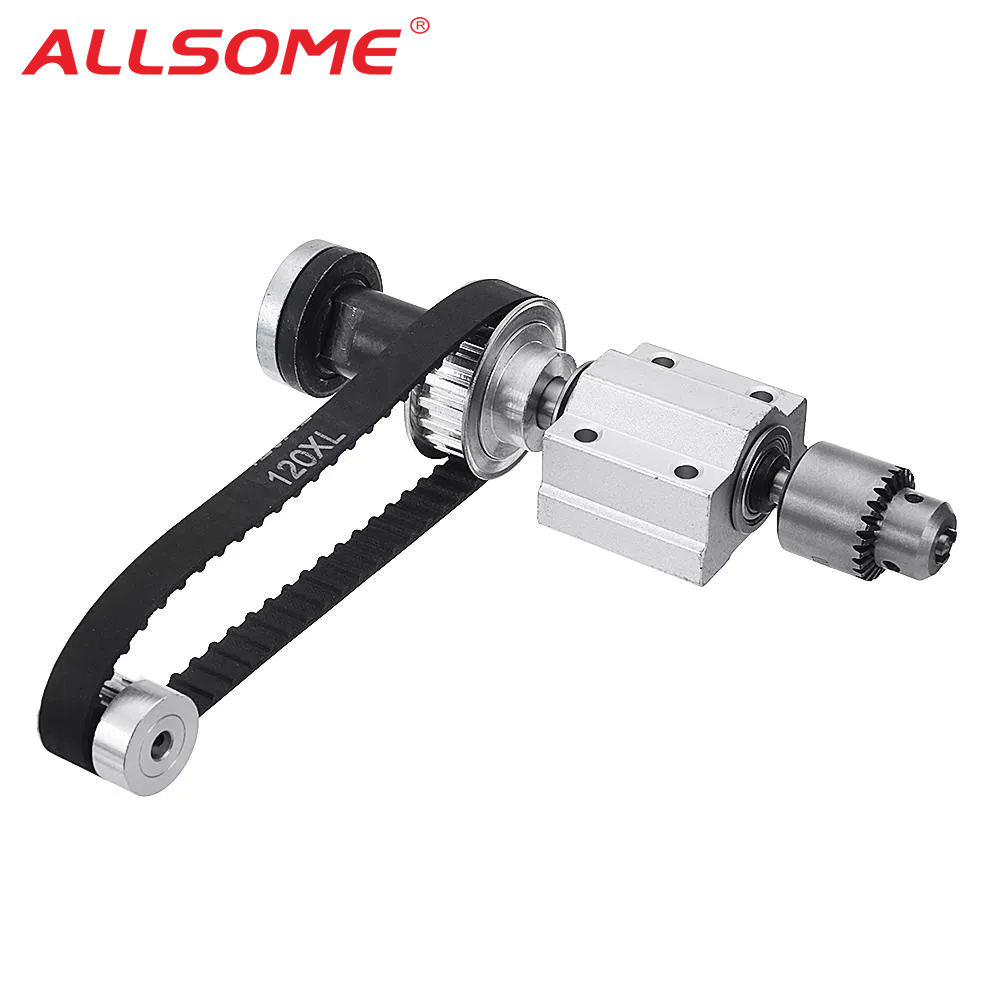ALLSOME No Power Spindle Assembly Small Lathe Accessories Trimming Belt JTO/B10/B12/B16 Drill Chuck Set DIY Woodworking Cutting