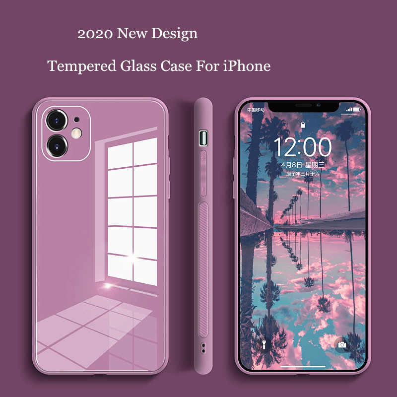 Square Tempered Glass Phone Case For iPhone 11 12 Pro Max Anti-knock Baby Skin Fram Case For IPhone XS Max X XR 7 8 Plus Cover