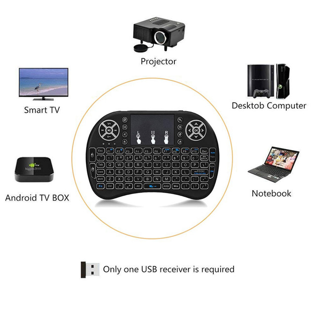 3 Colors Backlit i8 Mini Wireless Keyboard 2.4ghz English Russian 3 Colour Air Mouse with Touchpad Remote Control Android TV Box 1