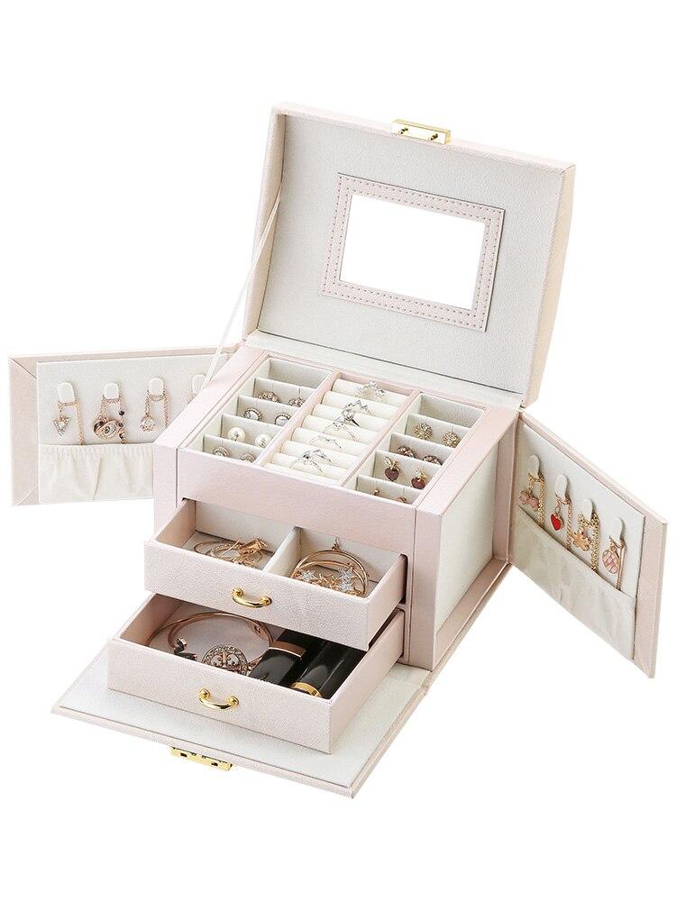 Jewelry-Box Storage-Box Mirror Ring Stud-Earrings Three-Tier-Storage Thread Luxury Portable