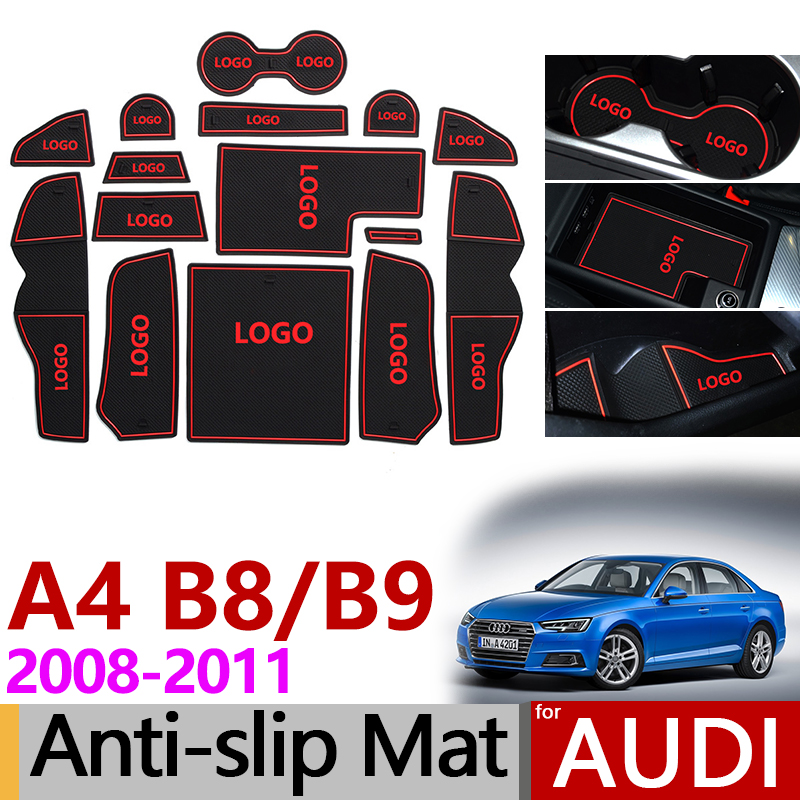 Anti-Slip Rubber Gate Slot Cup Mat for Audi A4 B8 2008 - 2015 8K A4 B9 2016 - 2019 8W SLine S-LINE S4 RS4 Accessories Stickers
