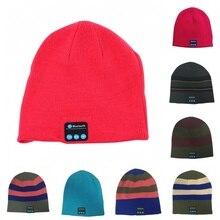 Зимние теплые вязаные шапки, наушники для мужчин и женщин, Беспроводная Bluetooth Музыкальная гарнитура, интегрированная шапка с микрофоном