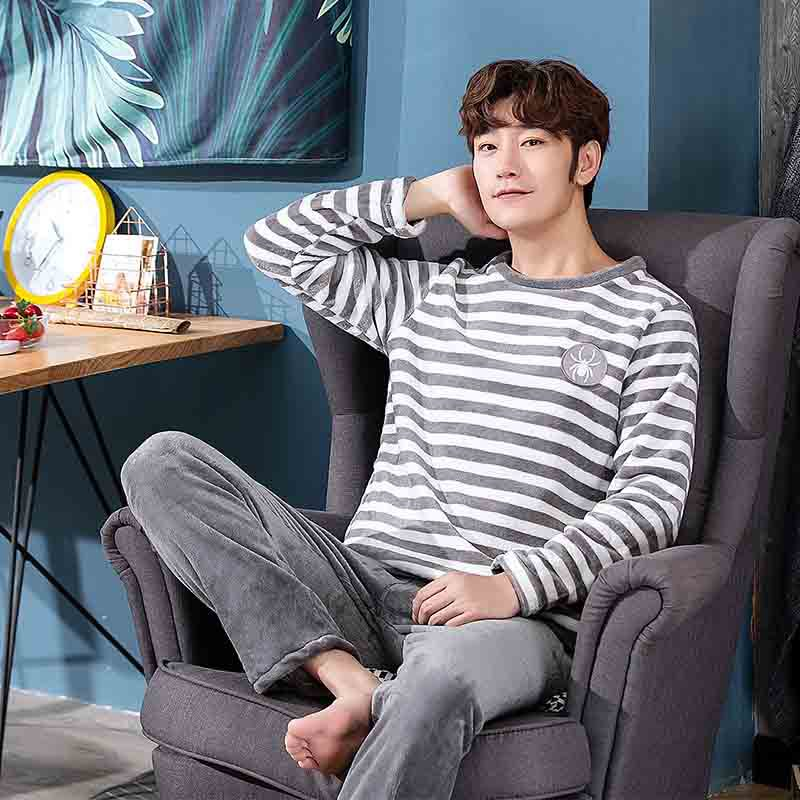 Men's Pajamas Set 2019 New Style Autumn Winter Thicken Warm Flannel Male Pajamas Sets Long Sleeve Sleepwear Top +Pants Leisure