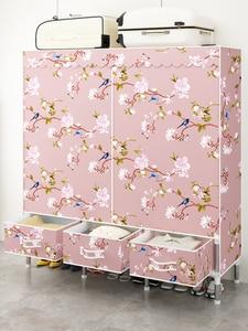 Шкаф для одежды, простой подвесной шкаф с тканевым ящиком, стальной плотный шкаф для хранения, двойная стойка для хранения