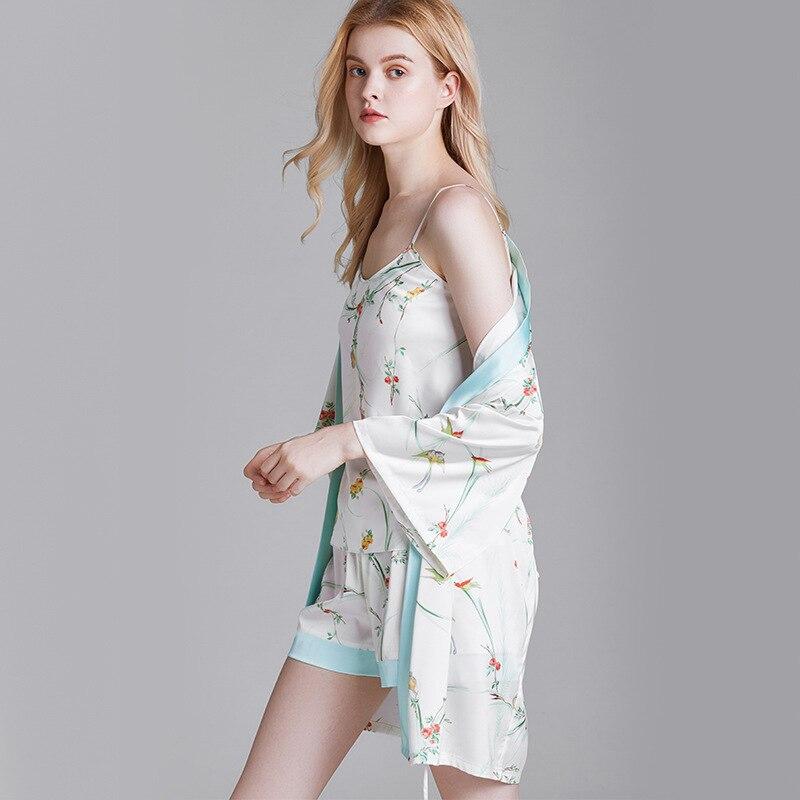 QWEEK Silk Pajamas For Women Summer Homewear Floral Print Pijama Mujer Sleepwear Lounge Wear Pyjama 2 Piece Set Women Nightie