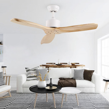 Wooden LED Ceiling Fan For Living Room 110v - 220V Fans With Lights 42 Inch Blades Cooling Remote Lamp