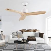 Wooden LED Ceiling Fan For Living Room 110v 220V Ceiling Fans With Lights 42 Inch Blades Cooling Fan Remote Fan Lamp