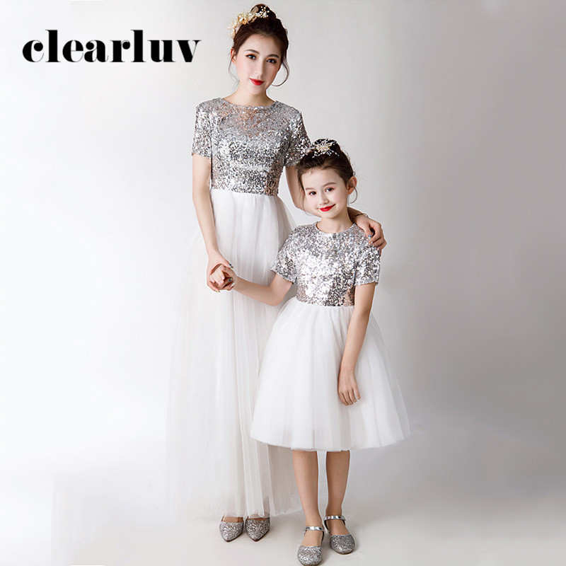 Mother And Daughter Evening Dress DB118 Patchwork A-Line Robe De Soiree Shining Sequin Parent Child Formal Party Dresses 2020
