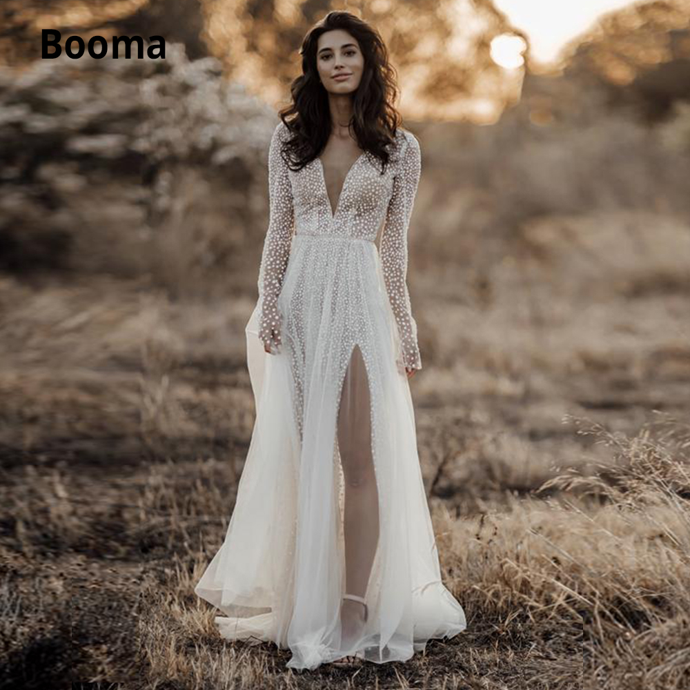 Booma 2020 Long Sleeve Wedding Dresses A Line V-neck Wedding Gowns Lace Tulle Sequins Bohemian Bridal Gowns Plus Size With Split