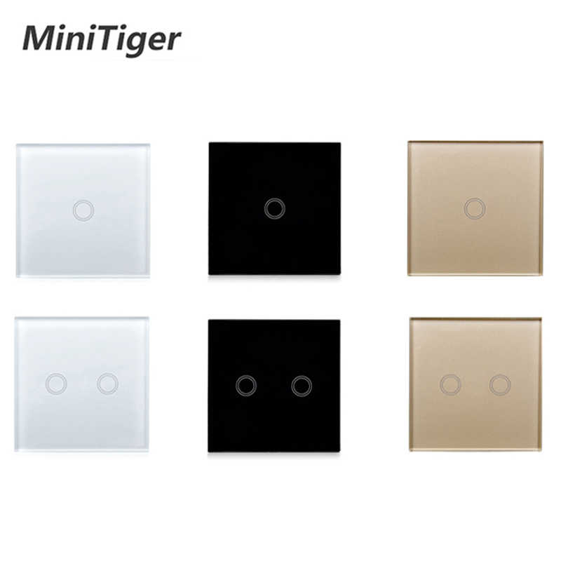 MiniTiger EU/UK standard 1 Gang 1 Way Touch Switch White Crystal Glass Panel Touch Switch  Light Wall Only Touch Function Switch