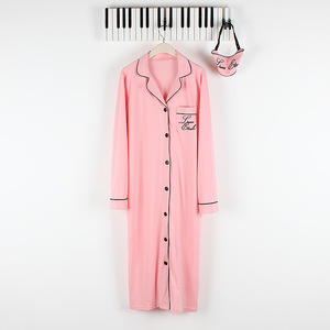 Image 2 - Autumn Womens Robes Sleepwear Cotton Long Nightgown Letter Embroidery Knitted Solid Dressing Gown Bathrobe Batas De Dormir Mujer