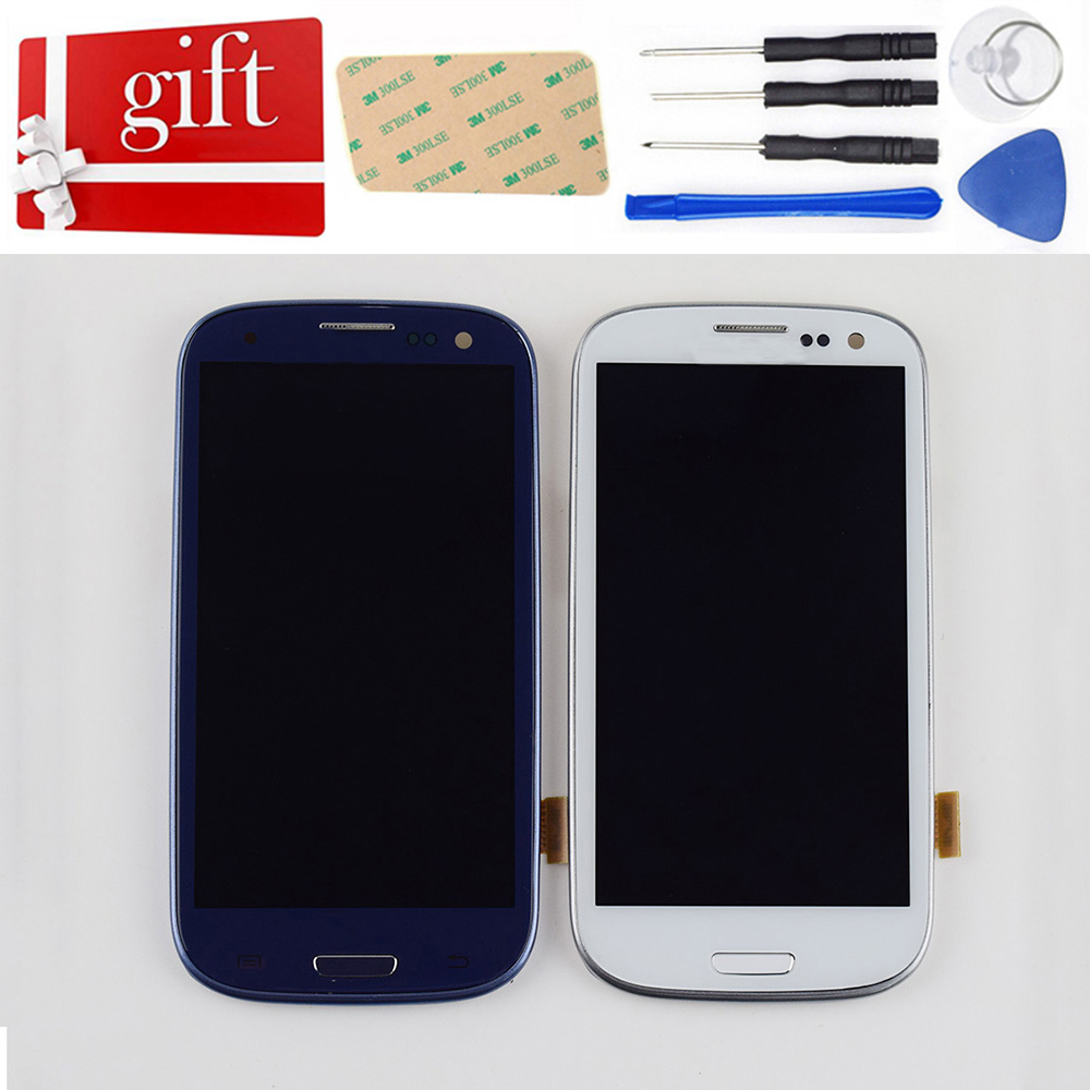 Para Samsung Galaxy S III i9300 i9301 S3 LCD Exibição i9305 i535 i747 9300i Tela LCD + Digitador Da Tela de Toque + Quadro de montagem