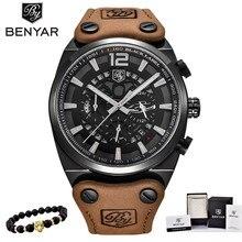 BENYAR montre bracelet pour hommes, montre style militaire avec chronographe, de luxe sport, étanche, à Quartz, décontracté, XFCS