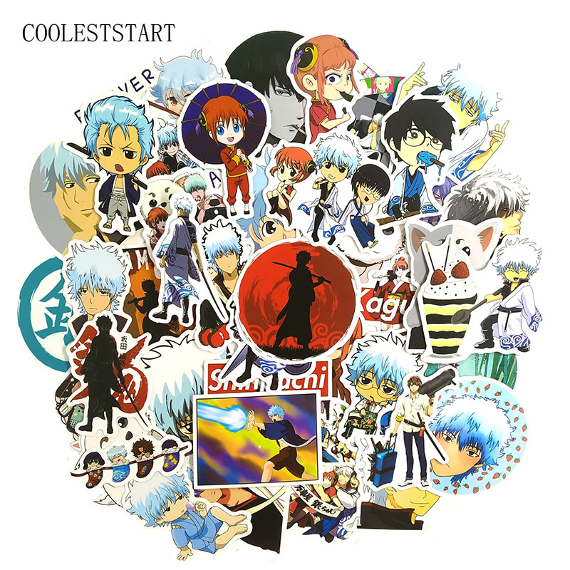 50Pcs/set Funny GINTAMA Stickers Kids Classic Toys For Motorcycle Skateboard Laptop Refrigerator Suitcase Diary Anime Sticker