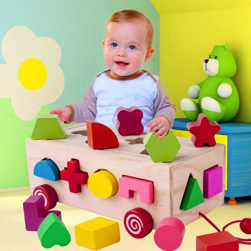 Kid 16 Hole Wooden Educational Cube Brick Geometric Shape Matching Sorting Box Learning Geometry Building Puzzle Montessori Toy