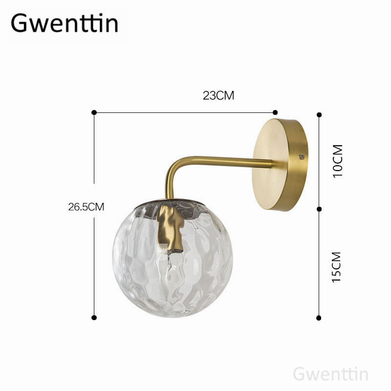 Image 5 - Nordic Gold Glass Wall Lamp for Bathroom Bedroom Stair Light Mirror Lights Home Wall Sconce Lighting Fixtures Industrial Decor-in LED Indoor Wall Lamps from Lights & Lighting