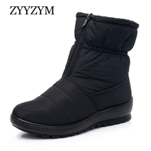 ZYYZYM Winter Women Boots Snow Waterproof Cloth Plush Keep Warm For High top Cotton Shoes Woman Botas Mujer