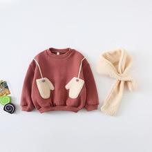 Флисовая толстовка с капюшоном свитер для маленьких девочек теплая рубашка Детская осенняя Повседневная хлопковая зимняя одежда с шарфом для маленьких мальчиков