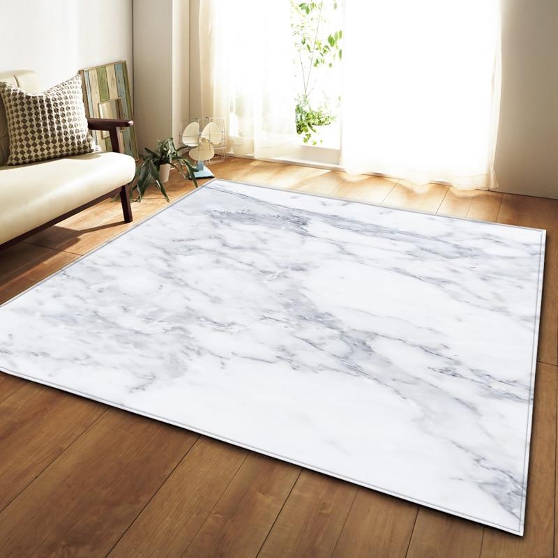 Marbre blanc noir imprimé tapis couloir paillasson anti-dérapant salle de bain tapis absorber l'eau tapis de cuisine tapis de Table salon