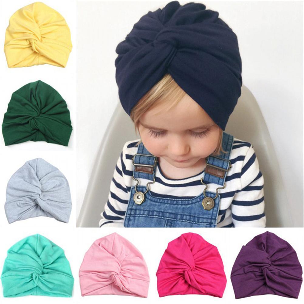 Girl Newborn  Beanie Cap Toddler  Baby Knit Hat  Knot Fur Ball  Indian Turban