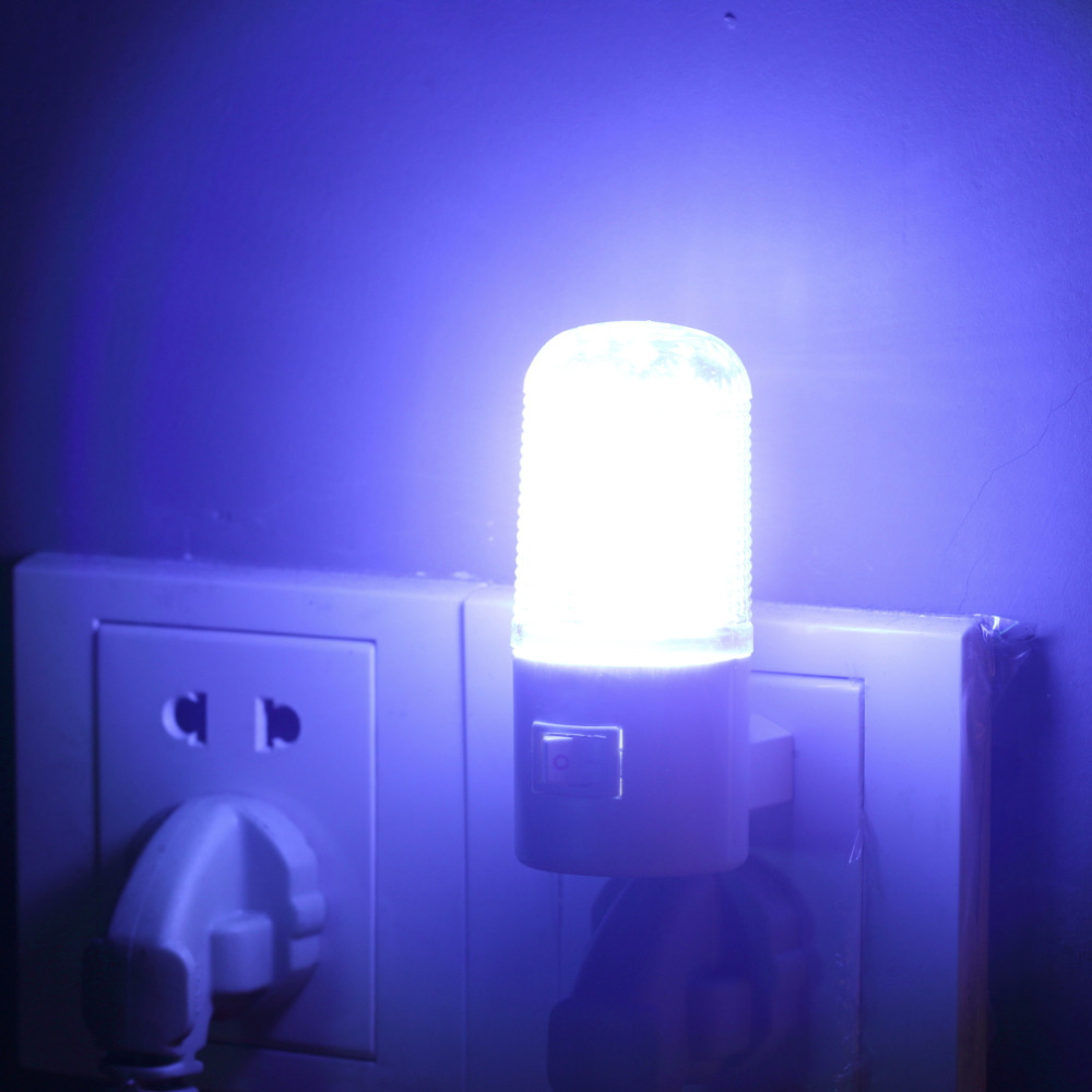 1pcs Household Night Lamp Warm Light Wall Mounting Bedroom Night Light Lamp 1W 6 LED AC90v-220v With US Plug Energy Saving