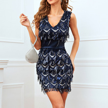 Sexy Ladies Dresses Spring Summer The New Fashion Hipster Designer Creative Thin Best Sellers Tassel Sequins V-neck Sleeveless