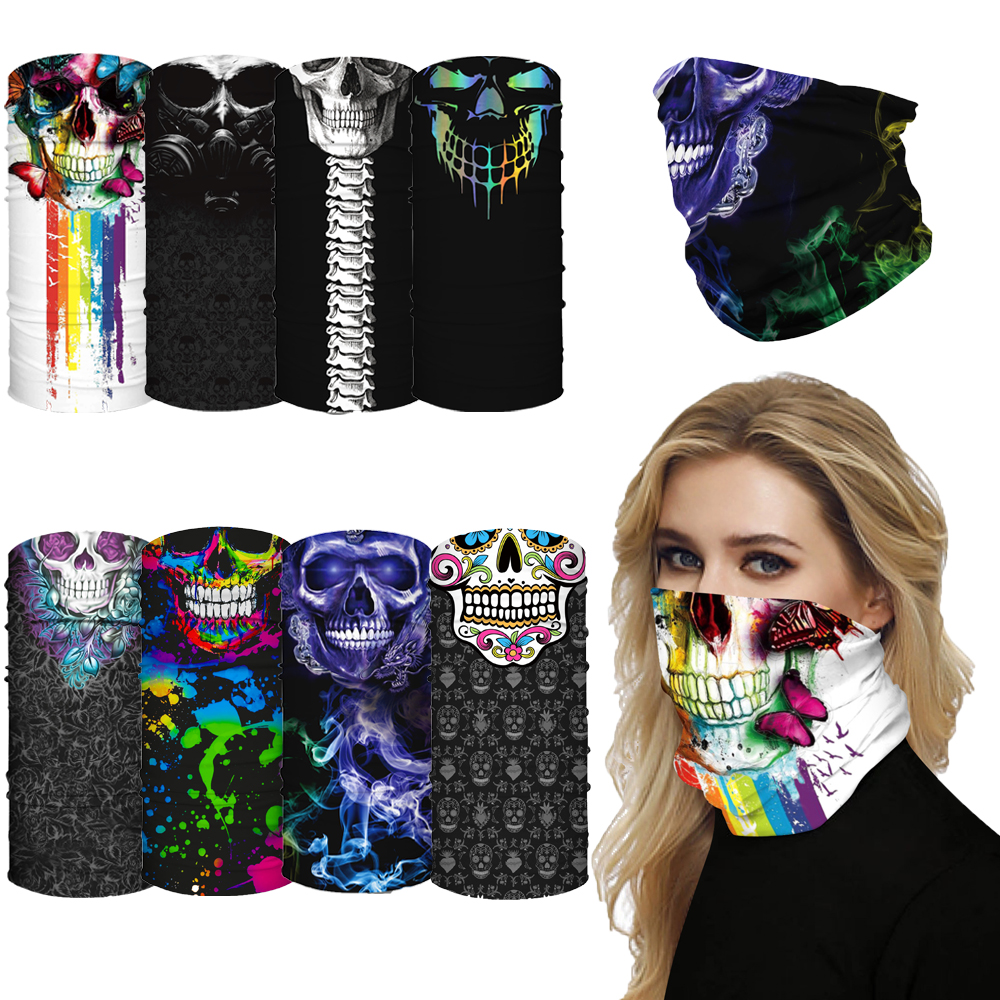 1 PC Skull Printed Neck Tube Ski Scarf Motorcycle Balaclava Cycling Bicycle Anti-UV Anti-dust Headwear Outdoor Ride Neck Mask(China)