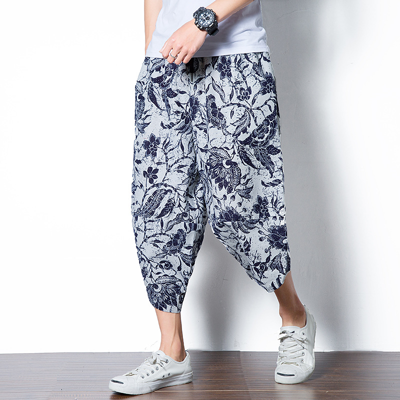 Chinese-style Flax Capri Men Cotton Thick Pattern Print Large Size Loose-Fit Ethnic-Style Chinese Clothing Casual Pants Harem Ca