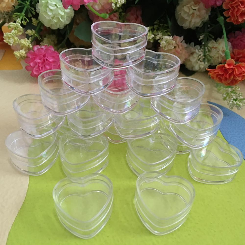 Clear Plastic Empty Cosmetic Lip Balm Cream Pot Jar Box Container Heart Shape Face Cream Container Box Cosmetic Clear Bottles 4g