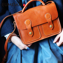 цены EUMOAN Vintage diagonal cross bag art shoulder bag leather mini bag handmade leather handbags