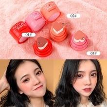 Heart Shape Air Cushion Blush Waterproof Long Lasting Seal  Contour Makeup Palette Blusher Orange Peach Color