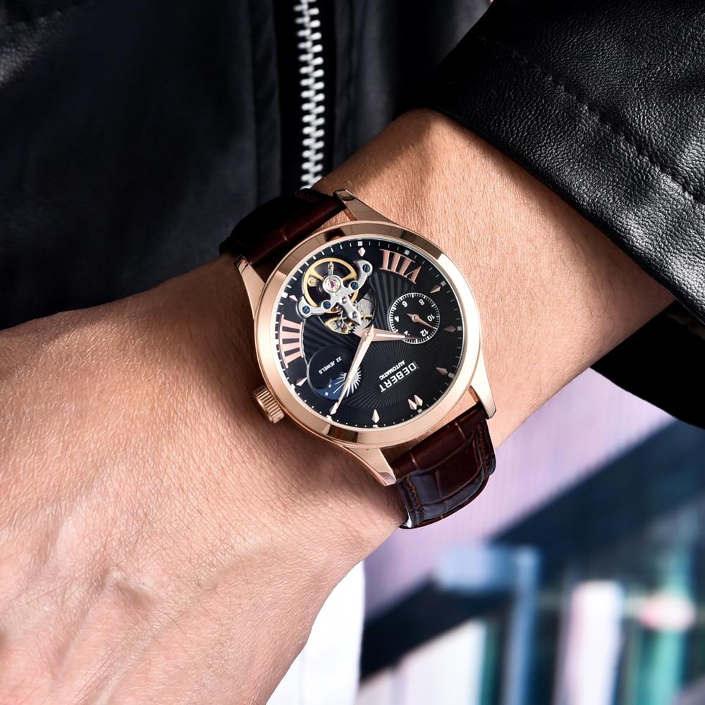 Debt 41mm esfera azul oro rosa oro caja Luna fase Tourbillon 22 joyas hombre impermeable automático reloj correa de cuero - 3
