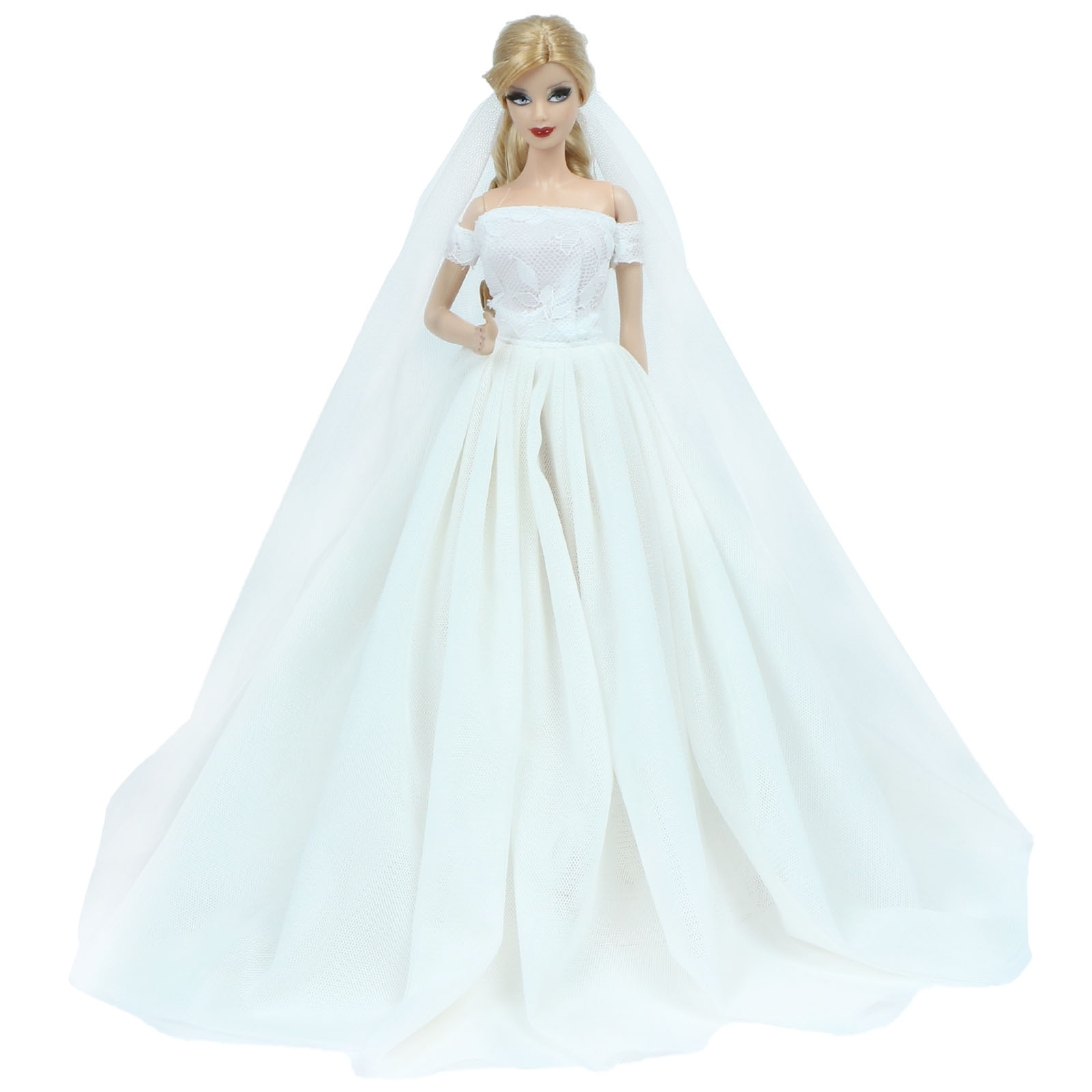 High Quality Dress White Wedding Party Princess Gown Elegant Skirt White Head Veil Clothes For Barbie Doll Accessories Baby Toy