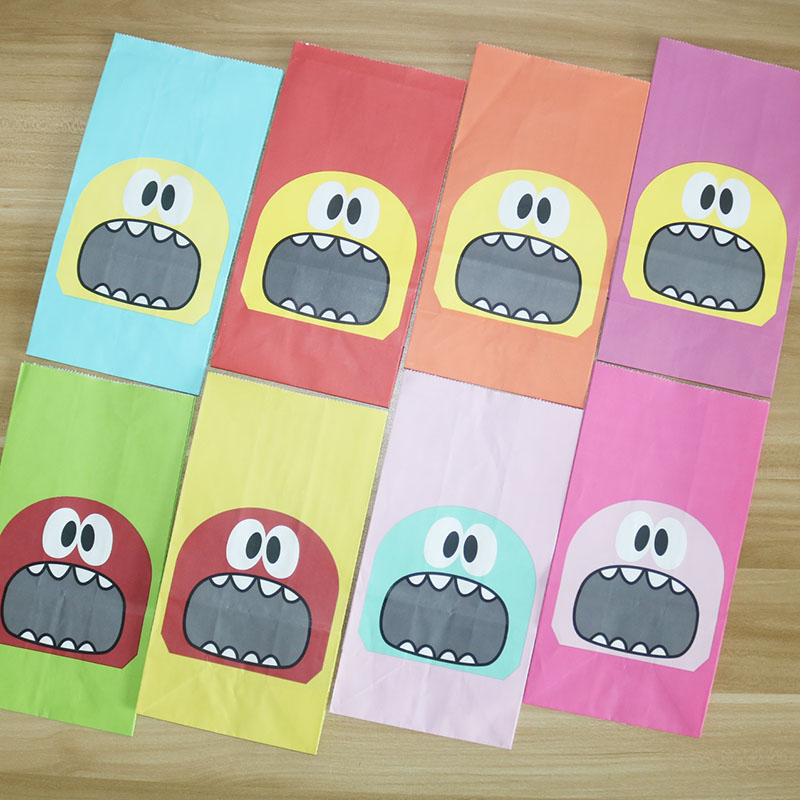 8/24pcs Big Teeth Mouth Monster Paper Bag Wedding Birthday Cookie Candy Gift Packaging Bags With Sticker Party Favors